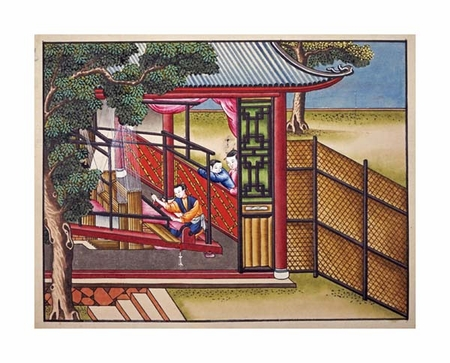"Chinese School Fine Art Open Edition Giclée:""Weaving Silk on a Loom"""