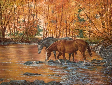 "Chris Cummings Hand Signed and Numbered Limited Edition Print:""Serenity-Horses"""