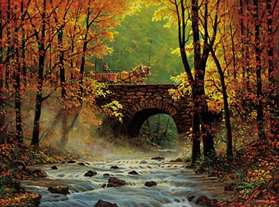 "Chris Cummings Handsigned and Numbered Artist Proof Print: ""Autumn Bridge"""