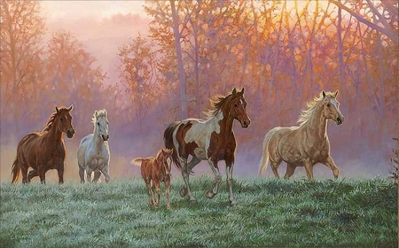 """Chris Cummings Handsigned and Numbered Limited Edition: """"Morning Sun – Horses"""""""