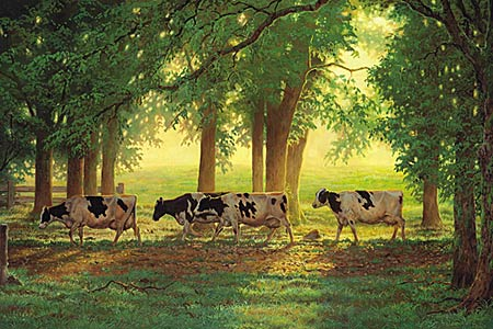 "Chris Cummings Hand Signed and Numbered Limited Edition Print:""Heading Home - Holstein Cows"""