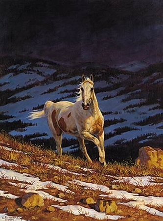 "Chris Cummings Limited Edition Print: ""Approaching Storm - Stallion (Right)"""
