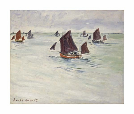 "Claude Monet Fine Art Open Edition Giclée:""Fishing Boats on the Large de Pourville"""
