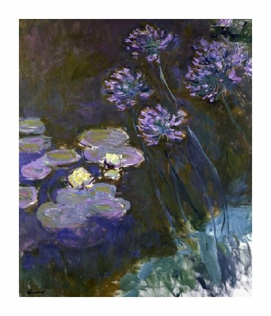 "Claude Monet Fine Art Open Edition Giclée:""Water Lilies & Agapanthus"""