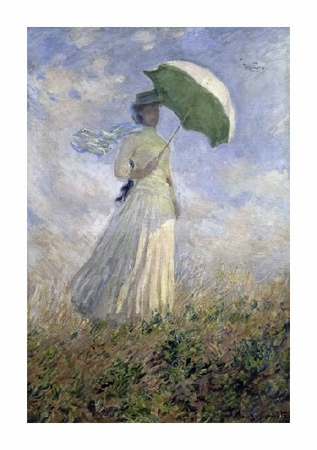 """Claude Monet Fine Art Open Edition Giclée:"""" Woman with a Parasol turned toward the right"""""""