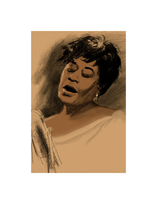 "Clifford Faust Limited Edition Pencil Signed Artist's Proof Giclee:""Ella Fitzgerald"""