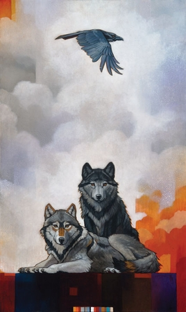 "Craig Kosak Hand Signed and Numbered Limited Edition Giclee on Canvas and Paper:""Druid Alphas with Raven"""