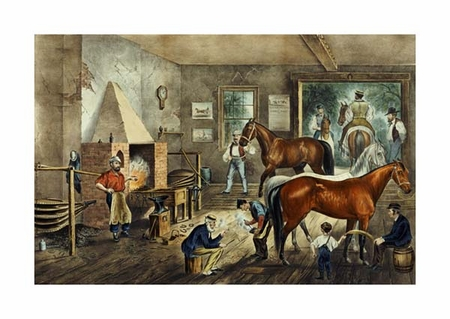 "Currier and Ives Fine Art Open Edition Giclée:""Trotting Cracks' at the Forge"""
