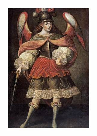 "Cuzco School Fine Art Open Edition Giclée:""Archangel Miguel"""