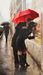 "Daniel Del Orfano Limited Edition Hand Embellished Giclee on Canvas:""Window Shopping"" - Click to enlarge"