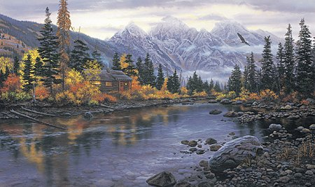 """Darrell Bush Handsigned and Numbered Limited Edition Print:""""Mountain Hideaway"""""""