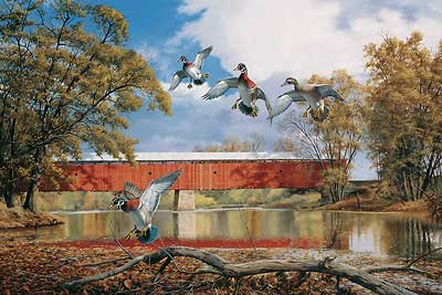 "David A. Maass Handsigned and Numbered Limited Edition Print:""Eldean Bridge – Wood Ducks"""