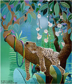 "David Utz  Artist Signed and Numbered Hand Pulled Serigraph on Paper: ""Jungle Siesta"""