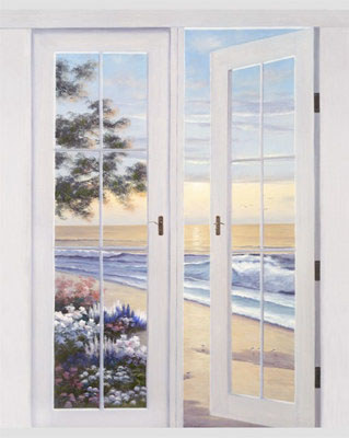 Diane Romanello Limited Edition Giclee on Canvas   French Doors to Ocean Breeze   & Diane Romanello Limited Edition Giclee on Canvas: