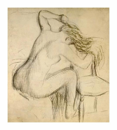 "Edgar Degas Fine Art Open Edition Giclée:""A Seated Woman Styling Her Hair"""