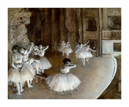 "Edgar Degas Fine Art Open Edition Giclée:""Ballet Rehearsal on the Set, 1874"""
