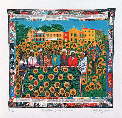 "Faith Ringgold Limited Edition Signed Serigraph Ed. 425:""The Sunflower's Quilting Bee at Arles"""