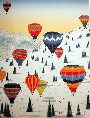 "Fanch Ledan Hand Signed and Numbered Limited Edition Paper Lithograph:""Ballooning in the Alps"""