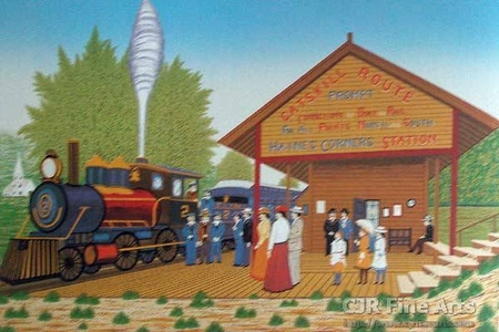"Fanch Ledan Hand Signed and Numbered Limited Edition Paper Lithograph:""Catskill Station"""