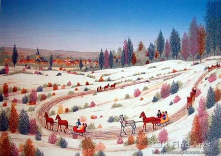 "Fanch Ledan Hand Signed and Numbered Limited Edition Paper Lithograph:""Country Sleigh Ride"""