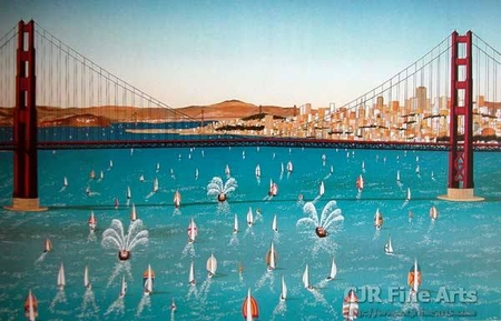 """Fanch Ledan Hand Signed and Numbered Limited Edition Paper Lithograph:""""Opening Day in the Bay"""""""