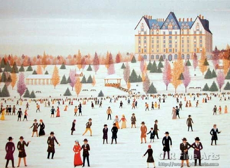 """Fanch Ledan Hand Signed and Numbered Limited Edition Paper Lithograph:""""Skating in Cental Park"""""""