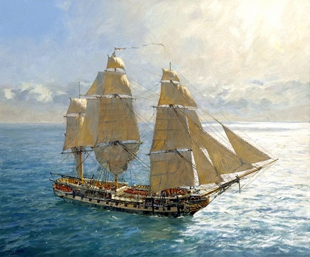 """Geoff Hunt Handsigned and Numbered Limited Edition Giclee:""""Flying Kites – HMS Surprise under Royals and Stunsails"""""""