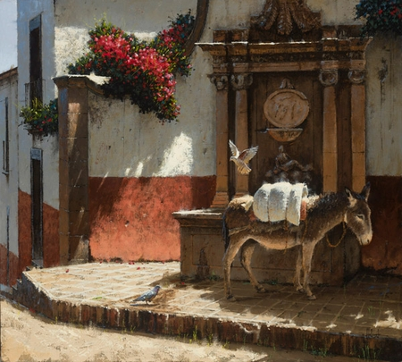 """George Hallmark Artist Hand Signed Limited Edition Giclee on Paper and Canvas: """"Sol y Sombra"""""""
