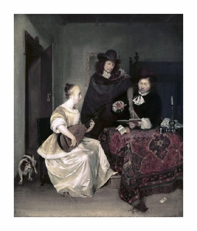 "Gerard Ter Borch Fine Art Open Edition Giclée:""Young Woman Playing the Theorbo to Two Men"""