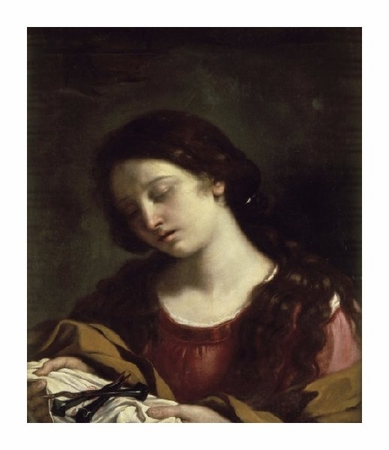 """Giovanni Guercino Fine Art Open Edition Giclée:""""The Magdalen Contemplating the Nails of the Passion"""""""