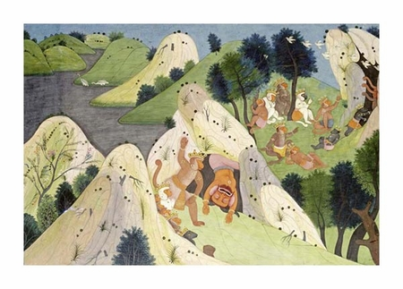 "Hindur Fine Art Open Edition Giclée:""Hindur and Some Monkey Princes"""
