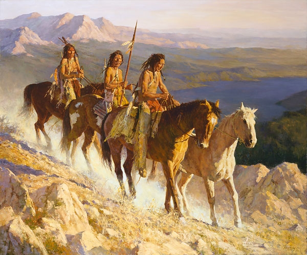 Howard terpning handsigned and numbered limited edition canvas giclee trail along the backbone - Indien et cheval ...