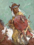 "Howard Terpning Limited Edition Artist Signed and Numbered Minature Canvas Giclee:""Cheyenne Red Shield"""