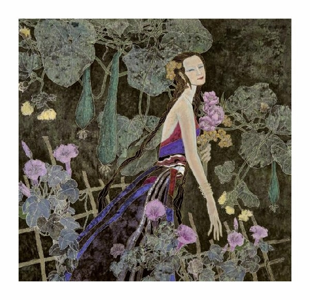 "Hua Long Fine Art Open Edition Giclée:""Goddess of Flowers Series: No. 2"""