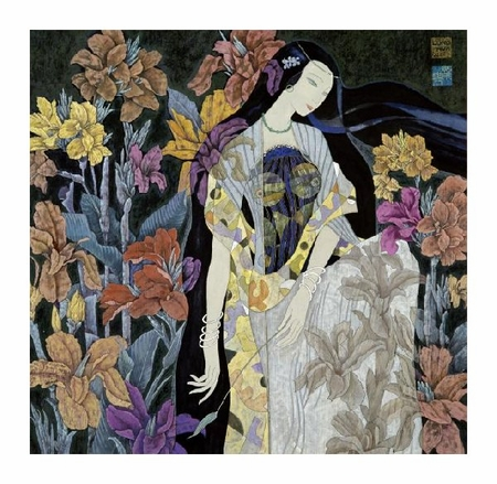 "Hua Long Fine Art Open Edition Giclée:""Goddess of Flowers Series: No. 9"""