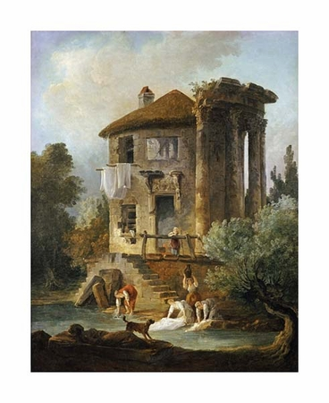 "Hubert Robert Fine Art Open Edition Giclée:""Washerwomen Outside the Temple of the Sibyl, Tivoli"""