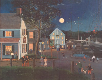"""Sally Caldwell Fisher Hand Signed Limited Edition Artist Proof Print:""""Summer Eve at Mystic Seaport"""""""