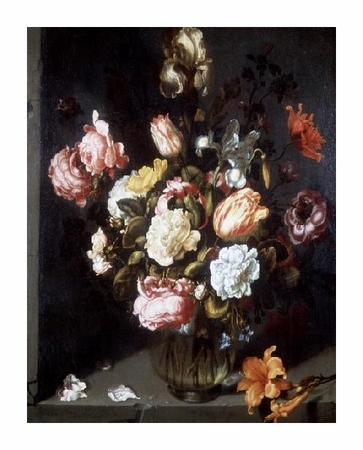 "Jacob Woutersz Vosmaer Fine Art Open Edition Giclée:""Tulips and Peonies in a Vase"""