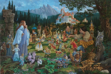 "James Christensen Hand Signed and Number Limited Edition Fine Art Print:""The Chess Match"""