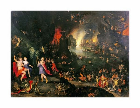 "Jan Bruegel II Fine Art Open Edition Giclée:""Orpheus Playing to Pluto and Persephone in the Underworld"""