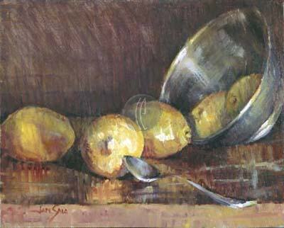 "Jan Saia Limited Edition Giclee on Canvas :"" Lemons & Silver"""