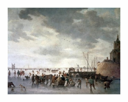 "Jan Van Goyen Fine Art Open Edition Giclée:""Scene on the Ice Near Dordecht"""