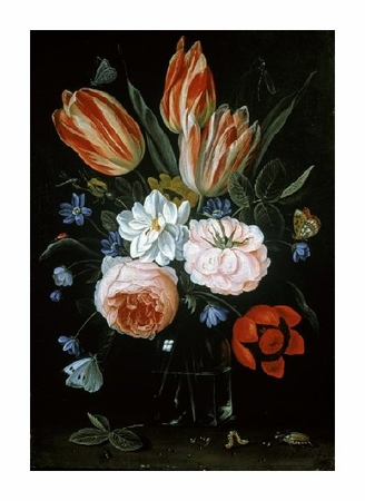 "Jan Van Kessel Fine Art Open Edition Giclée:""Tulips and Roses in a Glass Vase"""