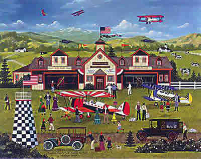"Jane Wooster Scott Hand Signed and Numbered Limited Edition Lithograph:""Franklin Field's First Annual Air Fair"""