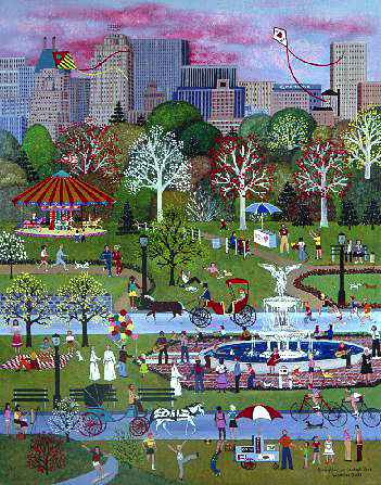 "Jane Wooster Scott Hand Signed and Numbered Limited Edition Lithograph:""Springtime In Central Park"""