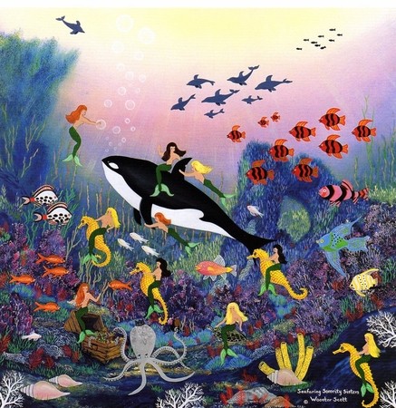 "Jane Wooster Scott Hand Signed and Numbered Limited Edition Print: ""Seafaring Soriroty Sisters """