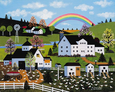 """Jane Wooster Scott Handsigned and Numbered Limited Edition Giclee on Paper:""""Chicken Farm, The"""""""