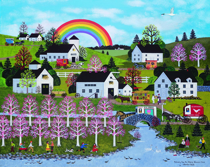 """Jane Wooster Scott Handsigned and Numbered Limited Edition Giclee on Paper:""""Delivery Day in Cherry Blossom Cove"""""""