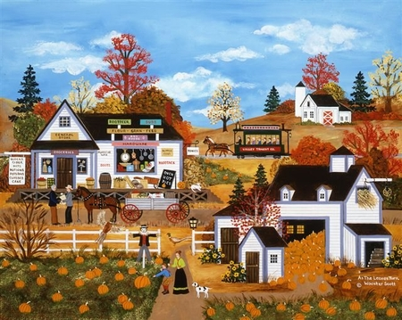 """Jane Wooster Scott Handsigned and Numbered Limited Edition Serigraph on Paper:""""AS THE LEAVES TURN"""""""