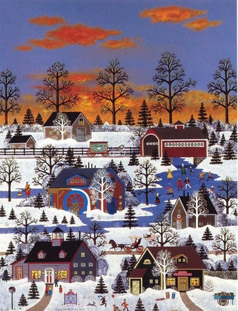 """Jane Wooster Scott Handsigned and Numbered Limited Edition Serigraph on Paper:""""HANGING OUT AT MILLER'S POND - REMARQUE"""""""